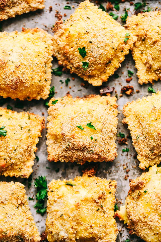 Baked Crispy Parmesan Ravioli